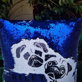 3s Company – Sequinned Cushion – Blue