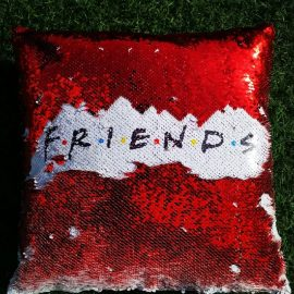 3s Company – Sequinned Cushion – Friends Red