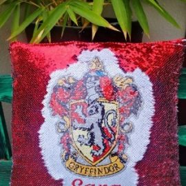 3s Company – Sequinned Cushion Red